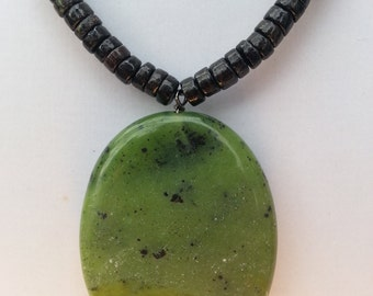 Handmade Necklace with Poison Green Jade and Longspar Pendant