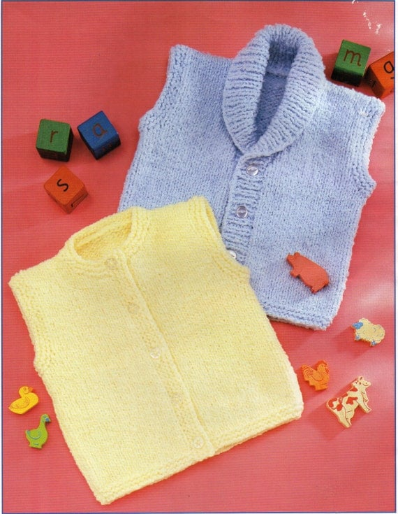 Easy Gilet Knitting Pattern : baby toddler childrens waistcoats knitting pattern gilet
