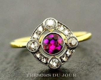 Ruby Ring Art Deco Engagement Ring 'Reinette'  Edwardian Engagement Ring Ruby Diamond Halo Engagement RING gold Ruby diamond Ring Vintage
