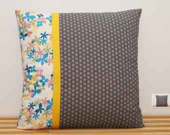 Housse de coussin, fleurs et tout asanoha      /     Pillow, cushion cover, full asanoha with flowers
