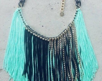 Fringe Necklace, Modern Bohemian, Mint Necklace, Long Fringe Necklace, Gold Fringe Necklace, Fan Fringe Necklace, Beach Necklace, Boho Chic