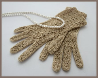 GORGEOUS Womens VINTAGE crocheted gloves, ecru /beige /light brown, womens size 8 - 8.5, lovely, bridal, 1950s /1960s vintage clothes