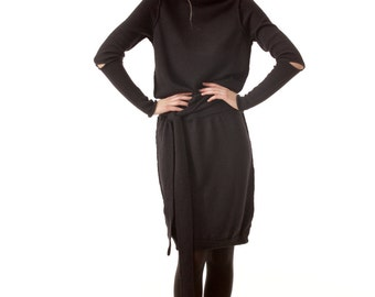 Black turtleneck dress AMANDINE BLACK - knee length - 100% alpaca