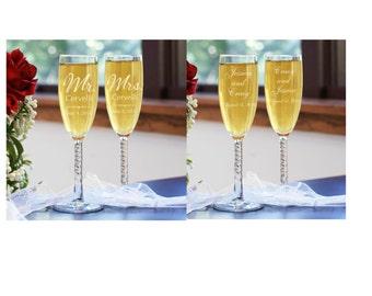 Bride & Groom Toasting Flutes- 2 Designs FREE Engraving!