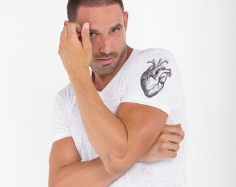 "OUT is in USA  ""Wear your Heart on your Sleeve"" V-neck T-Shirt,Valentines Day, heart shirt, anatomical heart shirt, burnt cotton t-shirt"