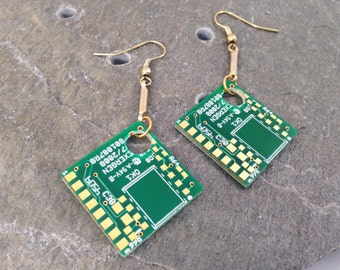 Gold & Green Circuit Board Earrings, Long Dangle Earrings, Upcycled Recycled Reclaimed Computer Parts, Nerd Earrings