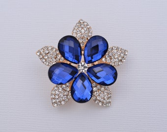 Blue Rhinestone Brooch Blue Brooch Gown Sash Hair Comb Decor DIY Crafts Supplies Bridal Brooch.