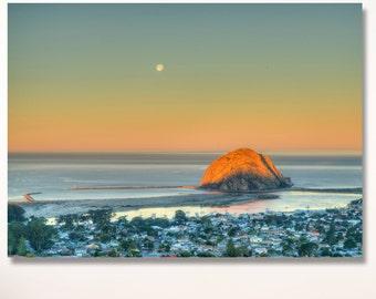 Morro Bay Sunrise Photo / California Beach photo / coastal art / california beach decor / central coast photography / Moon photo