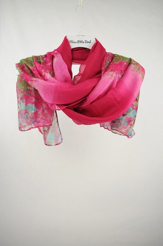 scarf strawberry scarf pink scarf floral scarf scarf with
