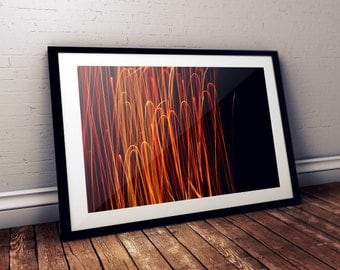 Light painting Instant download photography, Red and  Yellow Abstract lines, Modern Art Wall decor, Downloadable Digital Art