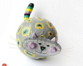 Cat Sculpture, Paper Mache Cat, Papier Mache Gray Cat, Paper Cat, Cat Figurine, Cat Art Object, Cat Home Decor, Cat Kids Decor, Handmade Cat