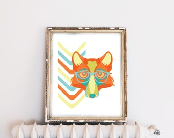 Printable Fox Poster, Nursery Wall Decor