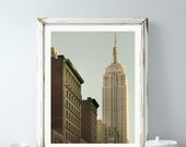 """NYC Print, Empire State Building, New York Print, Art Deco, Architecture Print, Travel Poster, Green Urban Wall Art """"American Icon"""""""