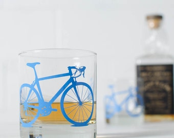 BIKE GLASSES - printed bicycle rocks barware