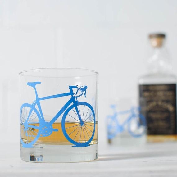 BIKE GLASSES - printed bicycle rocks barware