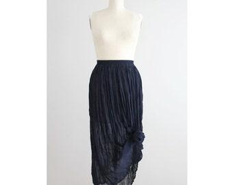 crinkle skirt | textured skirt | sheer navy blue skirt