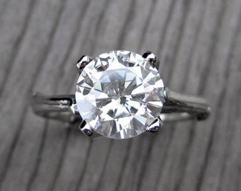 Moissanite Twig Engagement Ring: White, Yellow or Rose Gold; 2ct Forever Brilliant™