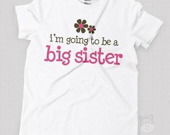 Big sister shirt- pink/brown flower big sister announcement t-shirt