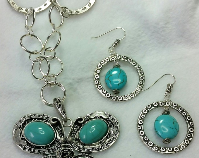 Butterfly Pendant in Turquoise with Silver Hand Made Chain and Matching Earrings