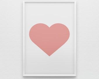 Simple Blush Pink Heart Art Print Poster