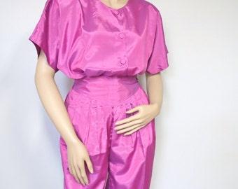 Thai Silk Two Piece Pants and Top Vintage Iridescent Rose Silk Pajama Suit 1980's Shirt Harem Pants Size Small