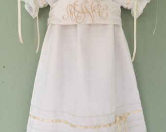 White or Ivory Baby and Older Girl Heirloom Monogrammed Sash Dress by Juvie Moon Designs