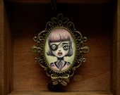sale - Pirate Girl - captain of the pirate ship original cameo necklace mixed medi lowbrow popsurreal art by Karolin Felix