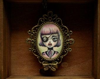 sale - Pirate Girl - captain of the pirate ship original cameo necklace mixed medi lowbrow popsurreal art by Karolin Felix