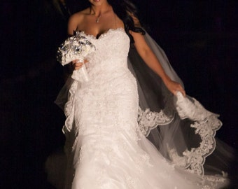 Natally's Cathedral length two tier lace edged mantilla drop veil