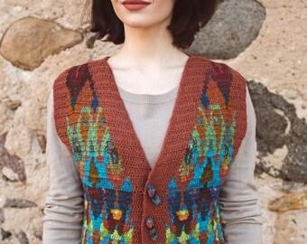 Wool Vest Peacock Fantasies II