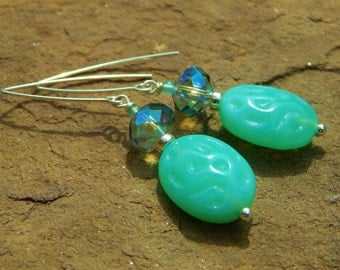 Agua Fresca Earrings - Czech Pressed Glass Beads, Green-Opal Prism Crystals & Tiny Aventurine Beads w Handmade Sterling Silver Ear Wires