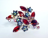 Large Vintage Ruby Red AB Rhinestone Brooch PIn 1940's 1950's NICE QUALITY