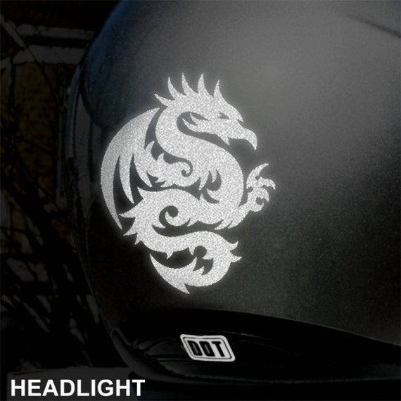 Tribal Dragon Reflective Decal Dragon Helmet Sticker - Vinyl stickers for motorcycle helmetsdragon hyper reflective decal motorcycle helmet safety sticker