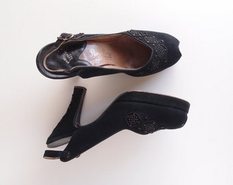 1940s Peep-Toe Platform Heels ... black doeskin suede with studded marcasites and cord trim...minty!!  sz 6 1/2A