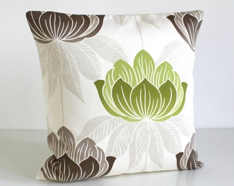 Green Pillow Cover, 16 Inch Cushion Cover, Pillow Sham, 16x16 Inch - Lotus Lime