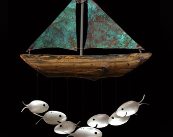 Nautical Verdigris Copper Sailboat And Silver Spoon Fish Wind Chime. Costal Christmas Gift Giving Made Easy, Gift For A Sailor, Navy Gift