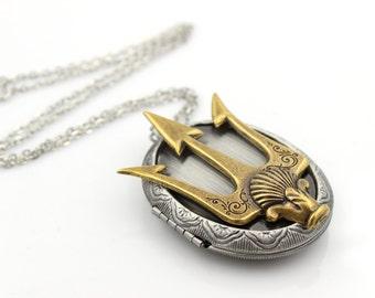 Poseidon's TRIDENT Locket - Necklace - Pirate - Fantasy - Once Upon a Time - GlazedBlackCherry