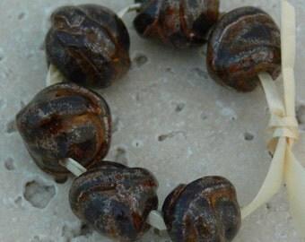 Set of  6 Ceramic Handmade Beads