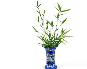 Vintage Flower Vase Unikat Polish Art Pottery Hand Painted Ceramic Vase Collectible Signed Boleslawiec Blue & Green Ceramic Vase