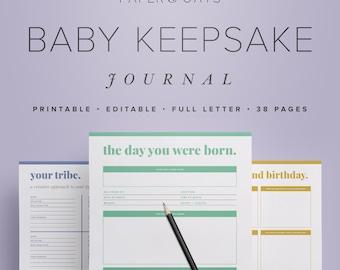 Baby Keepsake Journal – Editable Digital Baby Book, New Mom Diary, Baby Shower Gift, Baby Toddler Milestones Memories / PDF Printables