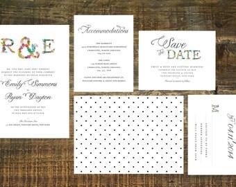 Monogram Wedding Invitation Suite (Set of 25) | Wedding Invites, Floral Wedding Invitation, Monogram Invites, Customized Wedding Invitations