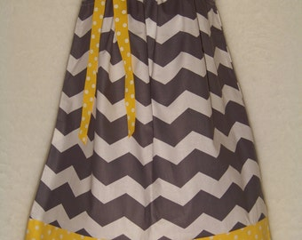 CHEVRON Pillowcase Dress / Yellow & Gray  / Sundress  / Newborn / Infant / Baby / Girl / Toddler / Custom Boutique