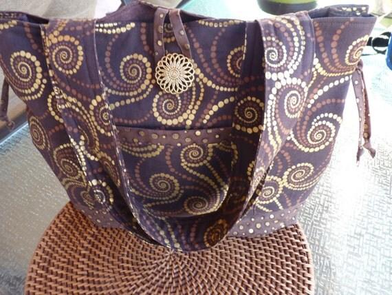 Handcrafted Brown and Gold Shoulder Bag/Handbag/Tote Bag/Market Bag