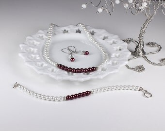 Marsala Bridesmaid Jewelry Set Wine Berry White Pearl Bridal Wedding Necklace Bracelet Earrings Color Block Accent
