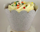 Silver Glitter Scalloped Cupcake Sleeves
