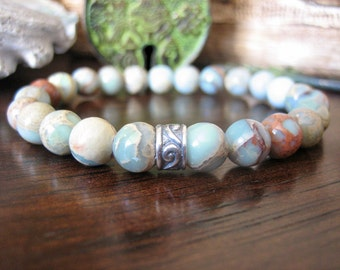 Celtic Bracelet - Aqua Terra Jasper Bracelet with Silver Celtic Spiral, Blue Green Stone, Variscite for Calmness, Courage and Balance