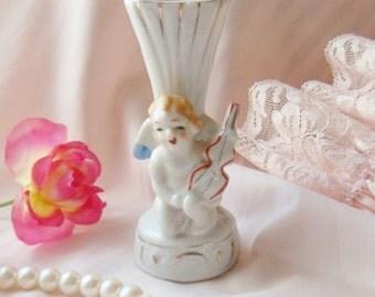 Small Victorian Cherub Vase, Cherub with Violin Vase, Miniature Angel Vase with Red Heart Mouth