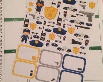 Police Planner Sticker Set with Half Boxes, Policeman Planner Stickers, Police Woman Stickers, set of 64