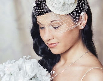 Cream Bridal Fascinator with Silk Flowers and Birdcage Veil - White Bridal Fascinator - Ivory Wedding Hat