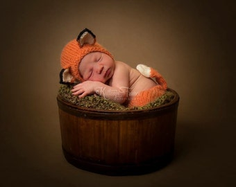 Newborn Fox Bonnet and Matching Pants Photography Prop, MADE TO ORDER